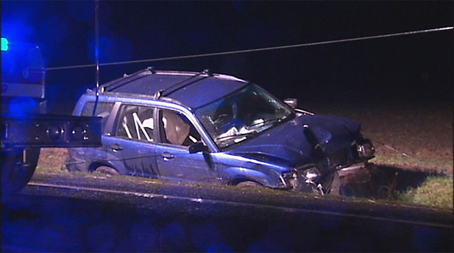 Powerlines trap man in SUV after crash February 9 2013 (6)