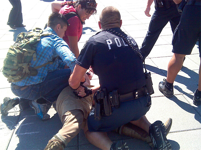 Police: Officer kicked in head as protesters clash with cops