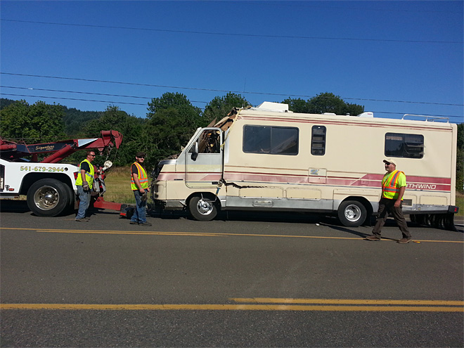Police: RV driver falls asleep, hits utility pole