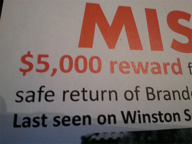 Reward for safe return of Brandon Bell