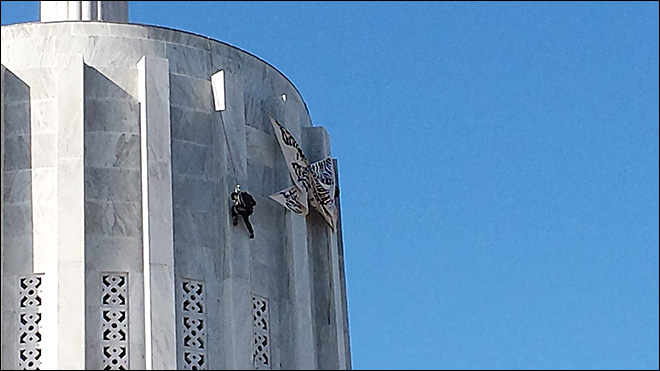 Rappelling from Capitol roof gets attention, but for what?