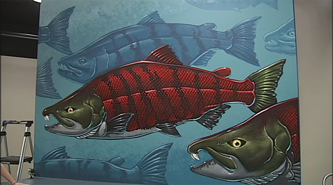 Sabertooth Salmon Mural (1)
