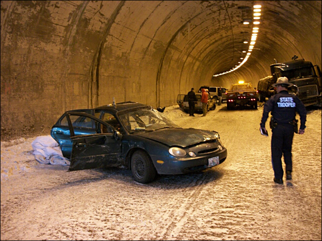 Six people hurt in icy tunnel crash