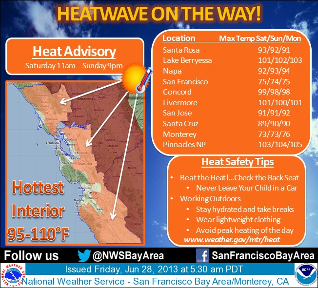 San Francisco area weather June 28 2013