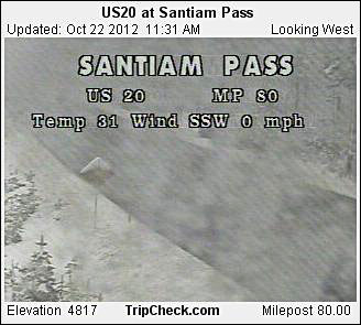 Santiam Pass at 11:31 a.m. Monday