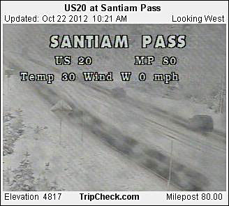 Santiam Pass at 10:21 a.m. Monday