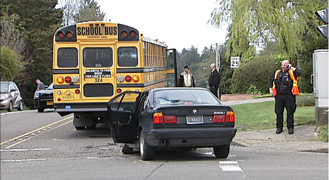 School bus and BMW collide (2)