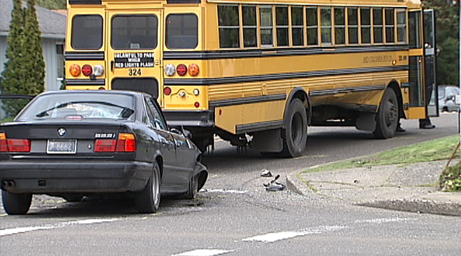 School bus and BMW collide (3)