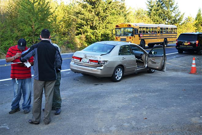 Bus hits car
