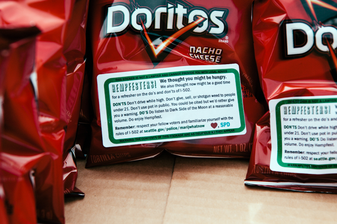 Seattle Police Department hand out Doritos