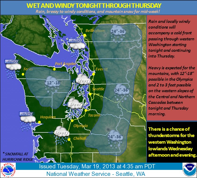 Seattle area weather March 19 2013