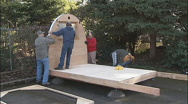 Shelter-Rights Alliance builds hut for homeless man