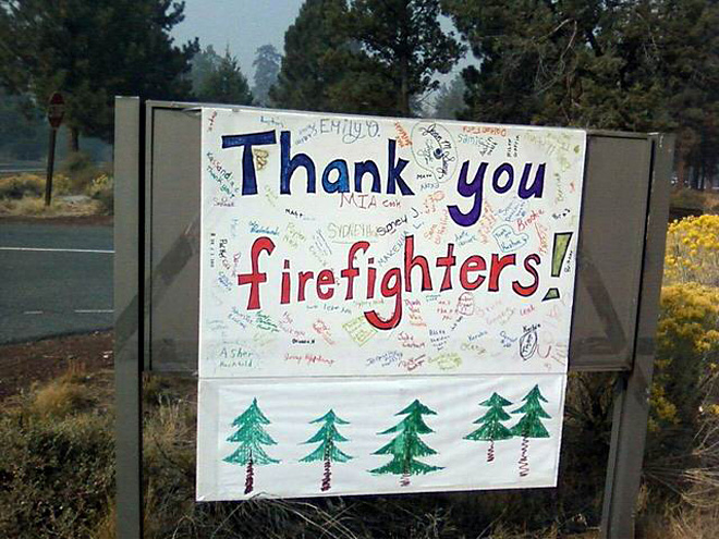 Sisters Elementary thank you on the Polce Creek fire by Bill Queen