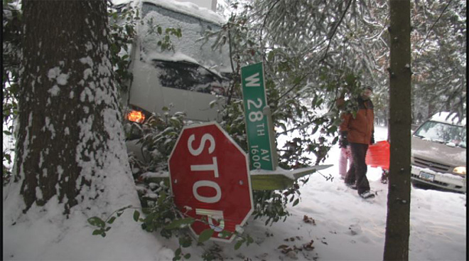 Slippery roadways cause traffic nightmare around town10
