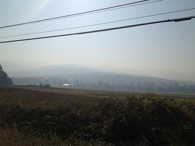 Smoke as seen from Walterville on September 17