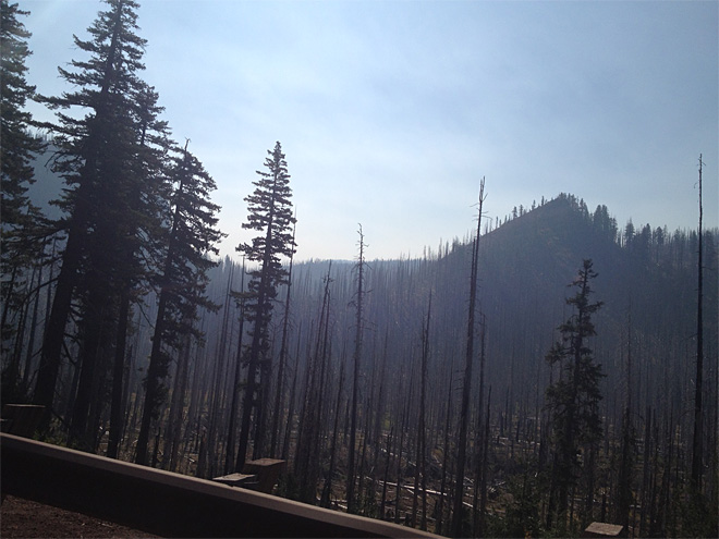 Smoke on McKenzie Pass on September 17