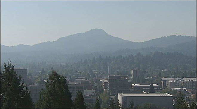Smoke haze and Spencer Butte September 13