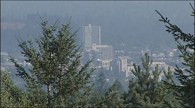 Smoke haze and downtown Eugene September 13