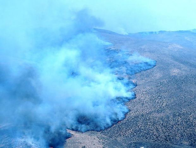 Southwest flank of the Holloway Fire in Nevada