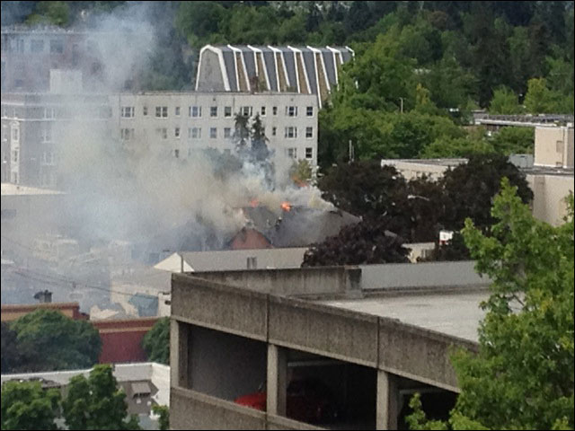 Photo of fire in downtown Eugene on June 18