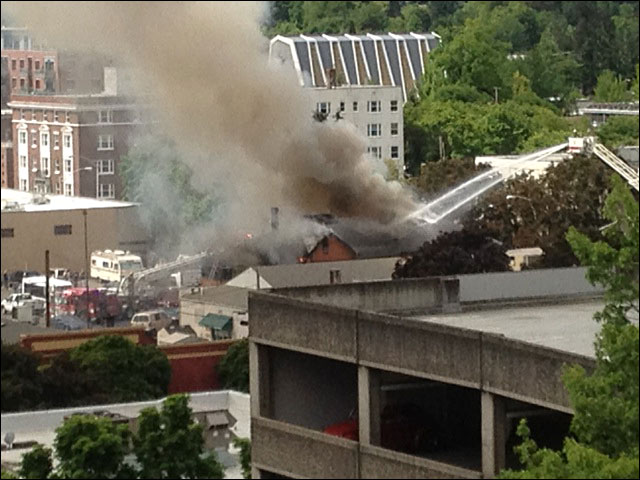 Photo of fire in downtown Eugene on June 18 courtesy Tanya Clark