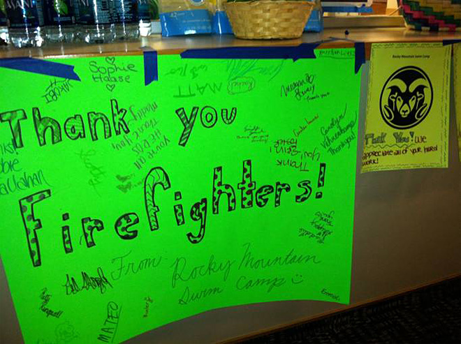 Thank you sign on High Park fire at CSU in Colorado