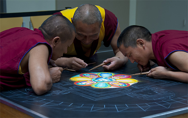 Tibetan monks create sand mandala at Lane Community College - Photo by Tristan Fortsch