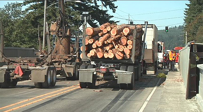 Log truck driver involved in Hwy 101 bridge crash faces meth charge
