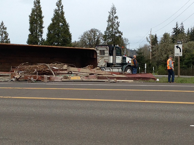 Truck crashes on Hwy 58 at I-5
