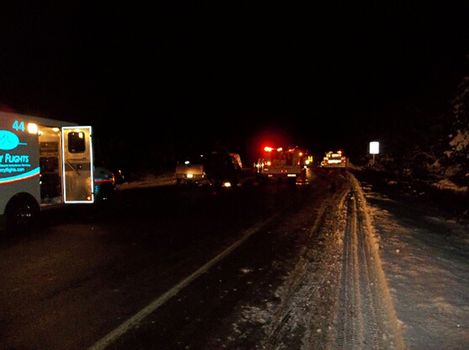 Two dead, four injured in crash on icy highway