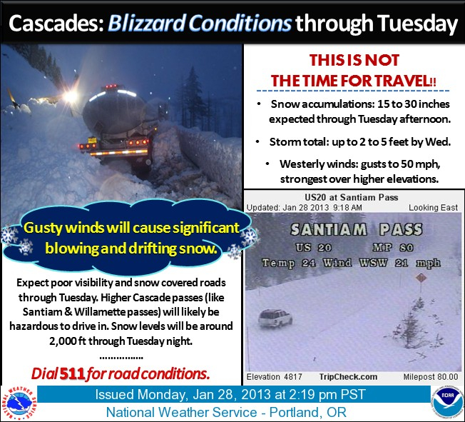 Blizzard conditions through Tuesday