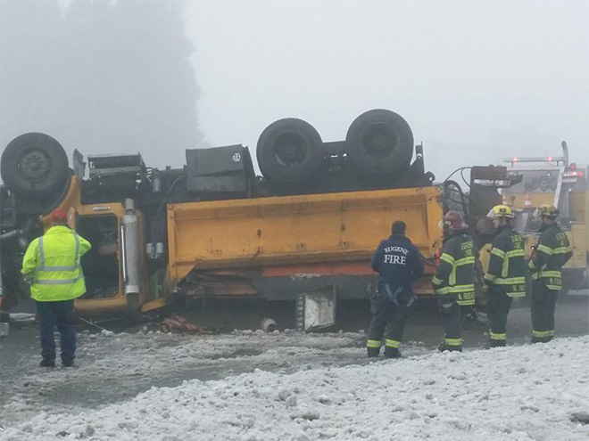 Upside-down snowplow on the 105 in Eugene - Photo from Cristal Flores