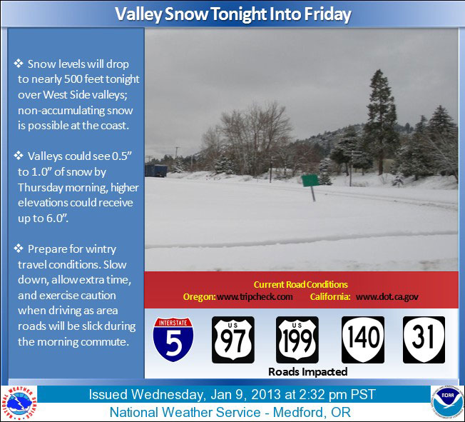 Valley snow likely in southern Oregon