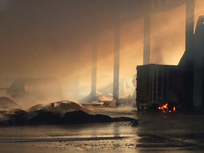 Fire burns through animal food pellet mill in Harrisburg