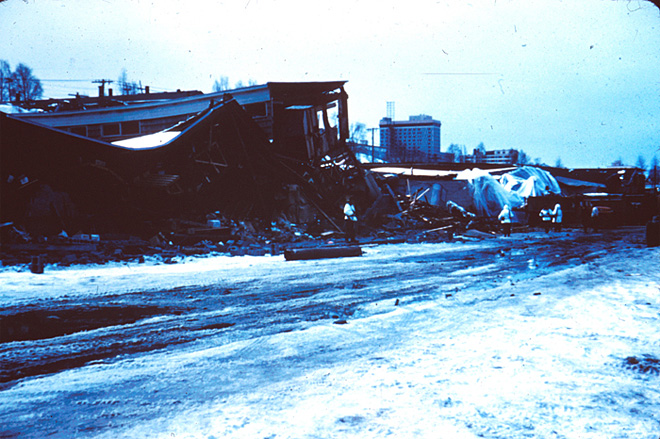Warehouses at the toe of the Fourth Avenue landslide in Anchorage