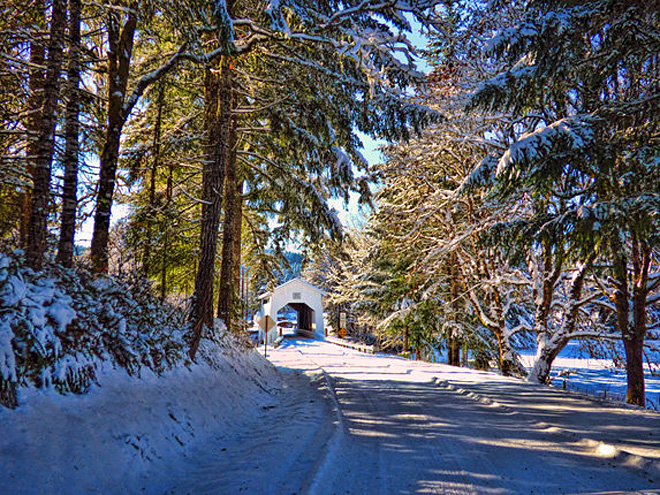 Whitehawk photo of Coyote Creek Covered Bridge in snow