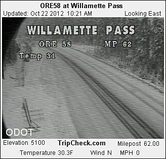 Willamette Pass camera morning of October 22