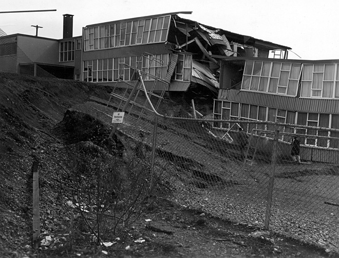 Wreckage of Government Hill School in Anchorage