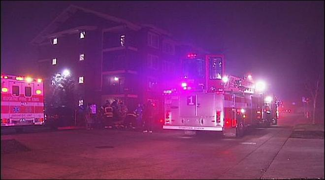Apartments flooded following fire, residents displaced