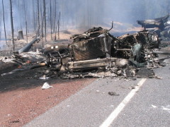 Highway 58 tanker accident/fire