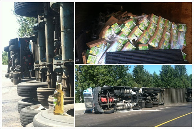 Beer truck overturns on Interstate 5 ramp