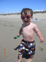 Luke in his stunna shades on the beach!!