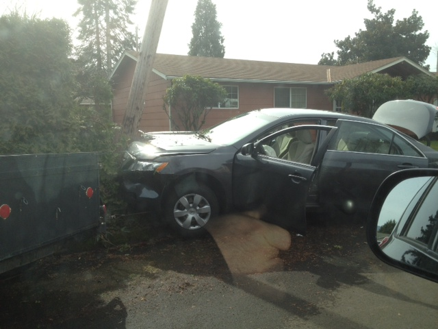 Car hits utility pole