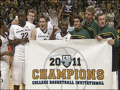 Raw Video: Ducks celebrate CBI Championship