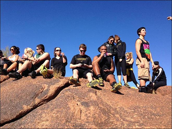Ducks cheer team pose on Camelback Mountain