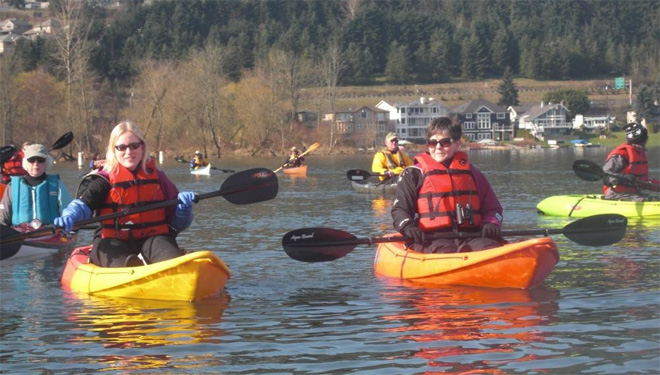 Kayaks on Lake Sammamish, courtesy Washington State Parks and Recreation.