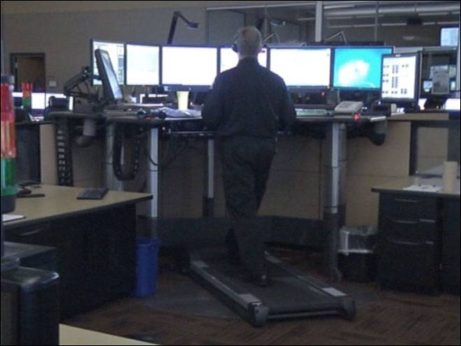 9-1-1 dispatchers on treadmills