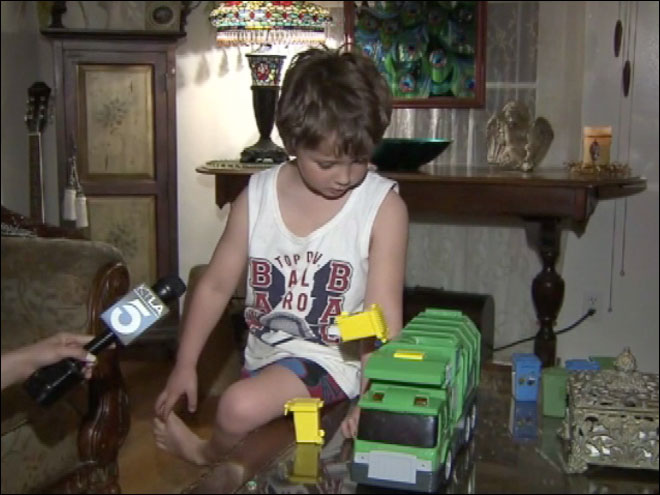 Autistic boy gets gift from truck driver
