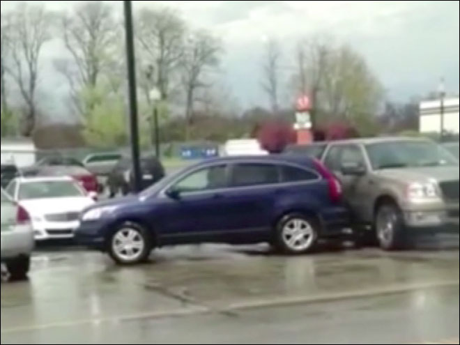 Botched attempt to pull out of parking space is caught on video