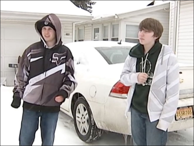 Boys save elderly woman in the snow